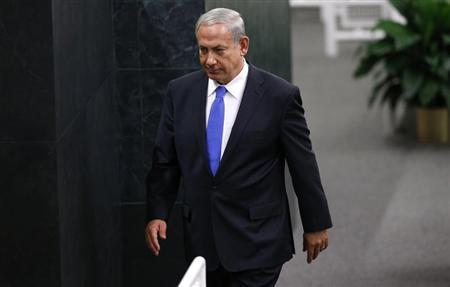 Israel's PM Netanyahu walks from the podium after addressing the 68th UN General Assembly in New York