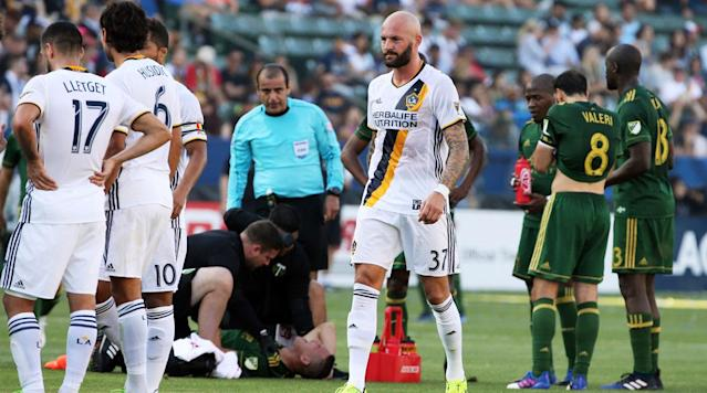 The pair's actions resulted in the sending off of the LA Galaxy's Jelle Van Damme in Portland's 1-0 victory.