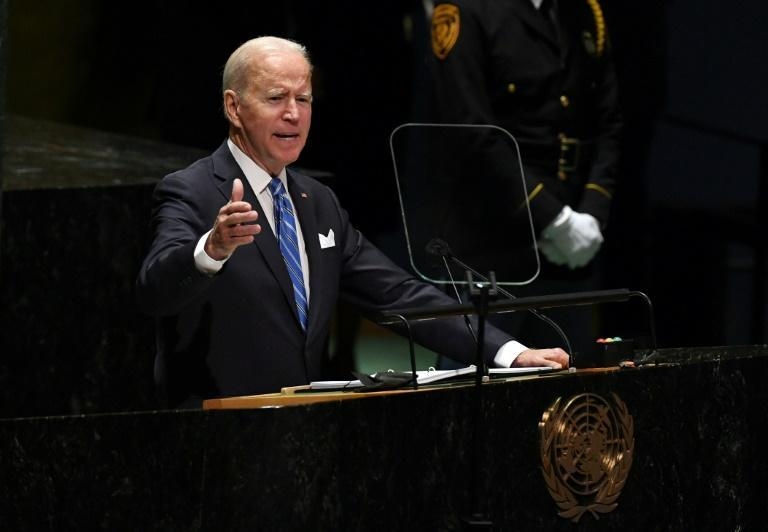 US President Joe Biden, pictured addressing the UN General Assembly, attempted to smooth the waters by requesting a telephone call with his French counterpart (AFP/TIMOTHY A. CLARY)