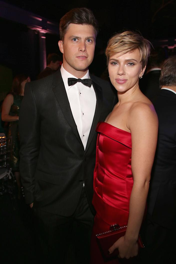 Colin Jost and Scarlett Johansson made their debut as a couple at the Museum Gala at the American Museum of Natural History in 2017. (Photo: Sylvain Gaboury via Getty Images)