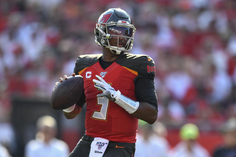 TAMPA, FL - SEPTEMBER 08: Tampa Bay Buccaneers quarterback Jameis Winston (3) in the pocket during the first half of the season opener between the San Francisco 49ers and the Tampa Bay Bucs on September 08, 2019, at Raymond James Stadium in Tampa, FL. (Photo by Roy K. Miller/Icon Sportswire via Getty Images)