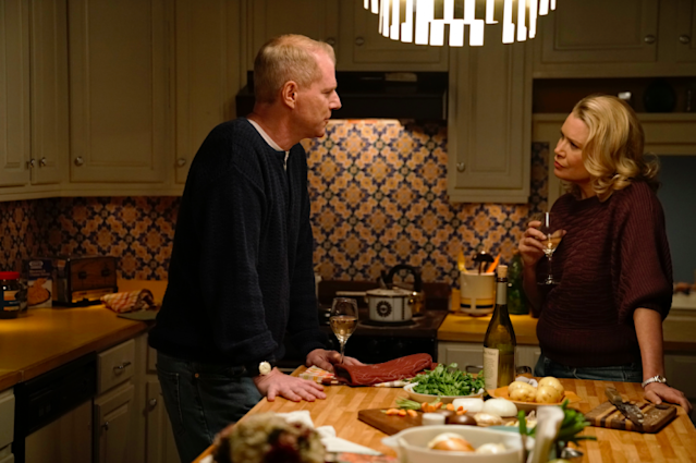Noah Emmerich as Stan Beeman and Laurie Holden as Renee (Photo: Patrick Harbron/FX)
