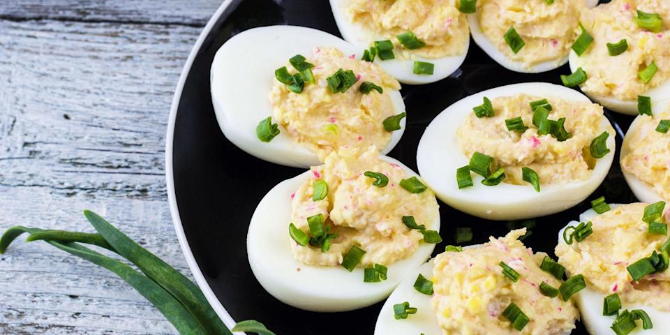 """<p>Take brunch, picnics, parties, or holiday gatherings (<a href=""""http://www.countryliving.com/easter/"""" rel=""""nofollow noopener"""" target=""""_blank"""" data-ylk=""""slk:hello, Easter"""" class=""""link rapid-noclick-resp"""">hello, Easter</a>!) to the next level with these unique deviled egg recipes featuring seafood, zesty spices, savory cheeses, dill, and more delicious ingredients. Plus, check out these <a href=""""http://www.countryliving.com/food-drinks/g4778/healthy-appetizers/"""" rel=""""nofollow noopener"""" target=""""_blank"""" data-ylk=""""slk:light and healthy appetizers"""" class=""""link rapid-noclick-resp"""">light and healthy appetizers</a> for more party food ideas. </p>"""