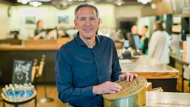 Howard Schultz, Starbucks executive chairman, visits the original Starbucks store at Pike Place Market on Monday, June 4, 2018.