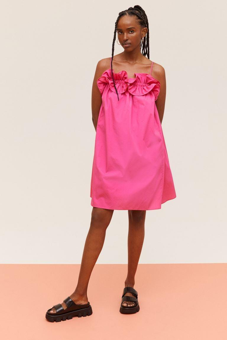 """<br><br><strong>H&M</strong> Ruffle-trimmed Dress, $, available at <a href=""""https://go.skimresources.com/?id=30283X879131&url=https%3A%2F%2Fwww2.hm.com%2Fen_us%2Fproductpage.1000506001.html"""" rel=""""nofollow noopener"""" target=""""_blank"""" data-ylk=""""slk:H&M"""" class=""""link rapid-noclick-resp"""">H&M</a>"""