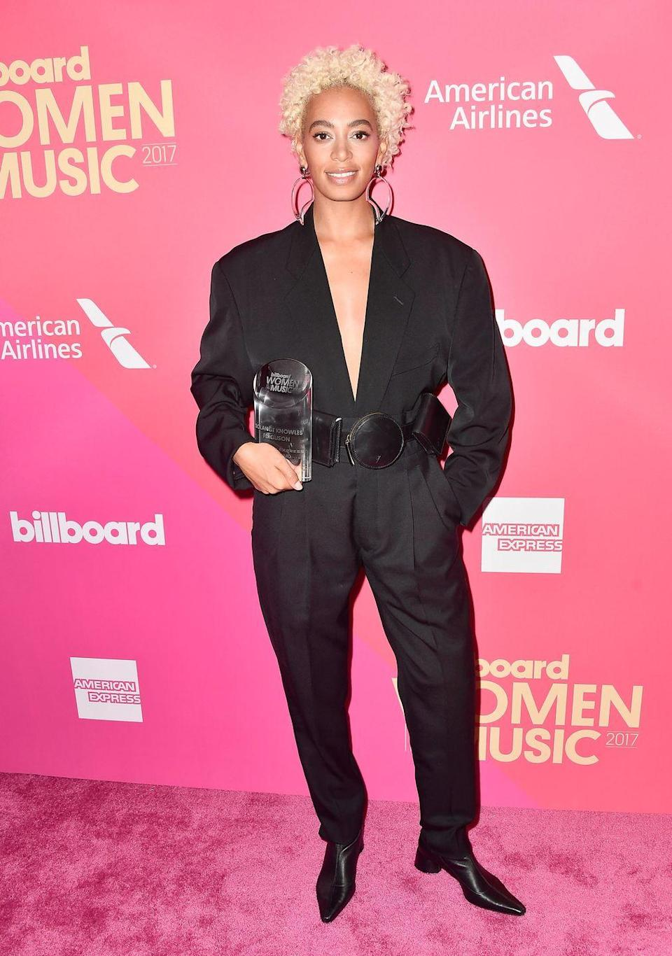 <p>According to Tang, more and more celebs—like Solange—are making the leap from brunette to cool blonde tones like platinum. </p>