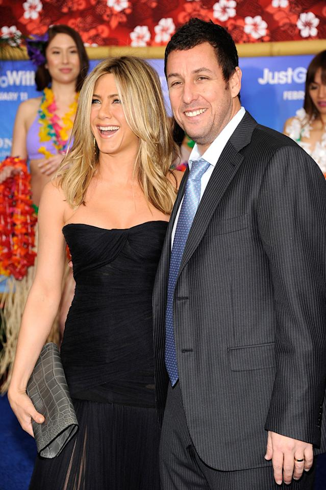 "<a href=""http://movies.yahoo.com/movie/contributor/1800021397"">Jennifer Aniston</a> and <a href=""http://movies.yahoo.com/movie/contributor/1800018711"">Adam Sandler</a> attend the Los Angeles premiere of <a href=""http://movies.yahoo.com/movie/1810150358/info"">Just Go With It</a> on February 8, 2011."