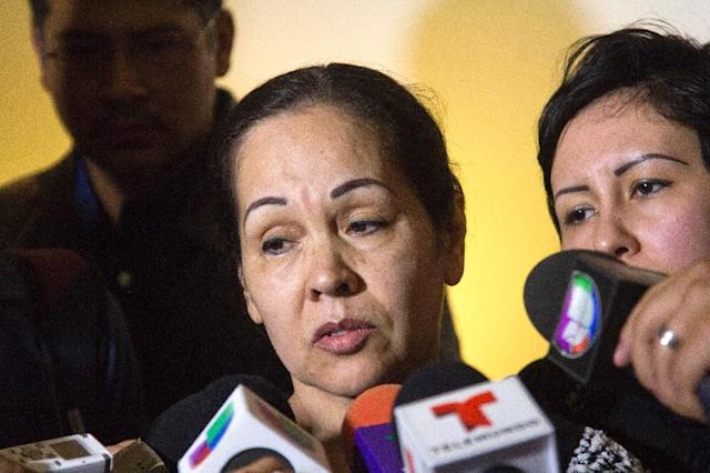 Ruth Rodriguez speaks to the press during the funeral of her son Pedro Aguayo Ramirez in Guadalajara city on March 22, 2015 (AFP Photo/Hector Guerrero)