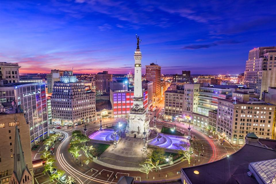 the Monument Circle and downtown area of Indianapolis, Indiana at night