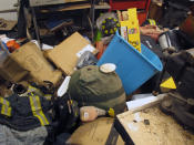 An office inside a firehouse is ruined after sustaining four feet of flooding during Tropical Storm Ida, Friday, Sept. 3, 2021 in Manville, N.J. (AP Photo/Wayne Parry)