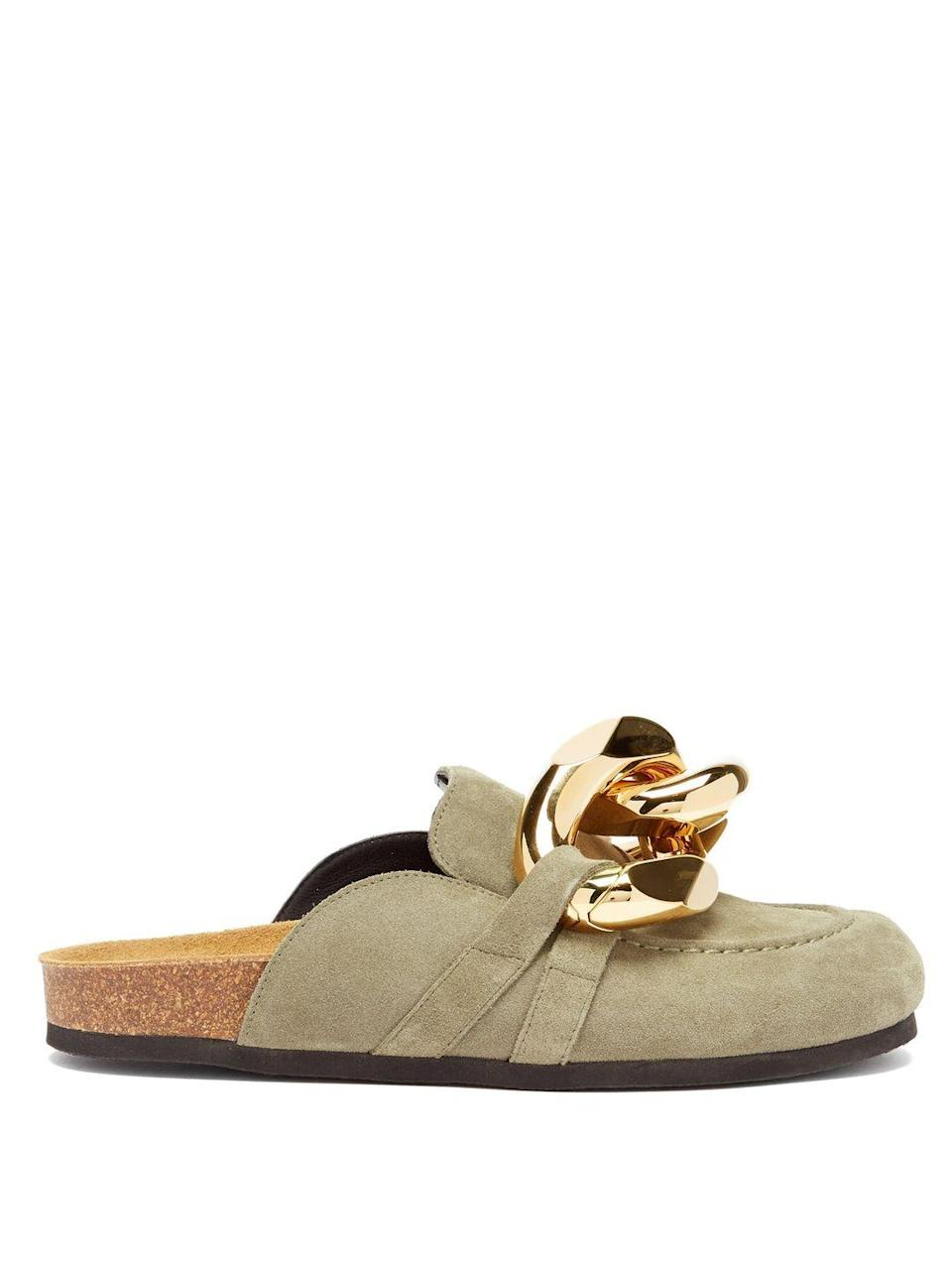 """<p>JW Anderson</p><p>Was £495.00</p><p>Now £346.00</p><p><a class=""""link rapid-noclick-resp"""" href=""""https://go.redirectingat.com?id=127X1599956&url=https%3A%2F%2Fwww.matchesfashion.com%2Fproducts%2FJW-Anderson-Chain-backless-suede-loafers-1406665&sref=https%3A%2F%2Fwww.elle.com%2Fuk%2Ffashion%2Fwhat-to-wear%2Fg36616066%2Fmatches-fashion-sale%2F"""" rel=""""nofollow noopener"""" target=""""_blank"""" data-ylk=""""slk:SHOP NOW"""">SHOP NOW</a></p><p>Just because lockdown has ended, it doesn't meed you need to give up fashionable comfort. </p>"""