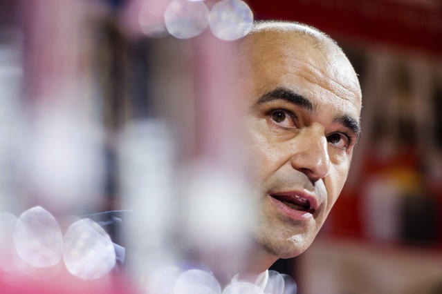 Belgium's head coach Roberto Martinez presents his squad for the 2018 Russia World Cup soccer during a media conference at the Belgian Football Center in Tubize, Belgium, on Monday, May 21, 2018. The 21st World Cup begins on Thursday, June 14, 2018, when host Russia takes on Saudi Arabia. (AP Photo/Geert Vanden Wijngaert)