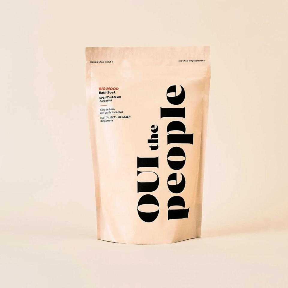 """Another bath soak that will look chic on the shelf is this detoxifying mix of magnesium, potassium, and calcium from Black-owned brand Oui the People. Aside from soothing, skin softening effects, notes of bergamot will leave you all the way chilled out. $28, Oui the People. <a href=""""https://www.ouithepeople.com/products/bath-soak"""" rel=""""nofollow noopener"""" target=""""_blank"""" data-ylk=""""slk:Get it now!"""" class=""""link rapid-noclick-resp"""">Get it now!</a>"""