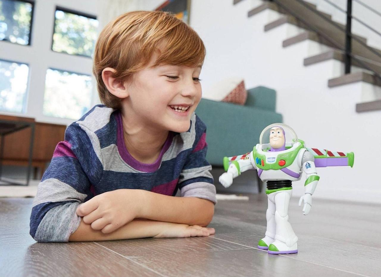 "<p>The <a href=""https://www.popsugar.com/buy/Disney-Pixar%20Toy%20Story%20Ultimate%20Walking%20Buzz%20Lightyear-454930?p_name=Disney-Pixar%20Toy%20Story%20Ultimate%20Walking%20Buzz%20Lightyear&retailer=target.com&price=30&evar1=moms%3Aus&evar9=45804853&evar98=https%3A%2F%2Fwww.popsugar.com%2Ffamily%2Fphoto-gallery%2F45804853%2Fimage%2F45805086%2FDisney-Pixar-Toy-Story-Ultimate-Walking-Buzz-Lightyear&list1=toys%2Ctoy%20fair%2Ckids%20toys%2Cbest%20of%202019&prop13=api&pdata=1"" rel=""nofollow"" data-shoppable-link=""1"" target=""_blank"" class=""ga-track"" data-ga-category=""Related"" data-ga-label=""https://www.target.com/p/disney-pixar-toy-story-ultimate-walking-buzz-lightyear/-/A-75561755"" data-ga-action=""In-Line Links"">Disney-Pixar Toy Story Ultimate Walking Buzz Lightyear</a> ($30) features lifelike motions, sounds, and phrases, like, ""Has anyone seen Sheriff Woody?""</p>"