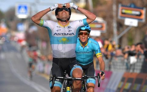 <span>Alexey Lutsenko celebrates on the line as the Astana rider clinches stage four at Tirreno-Adriatico</span> <span>Credit: Getty Images </span>