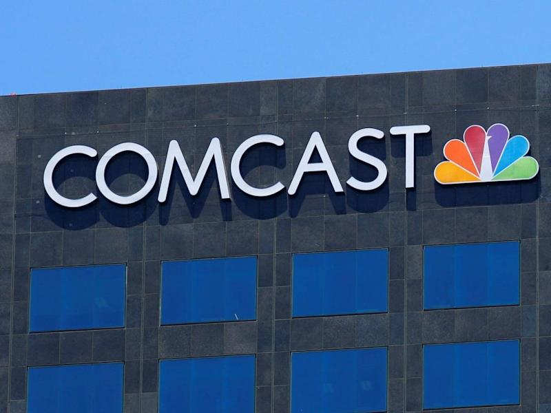 The Comcast NBC logo is shown on a building in Los Angeles (Reuters)