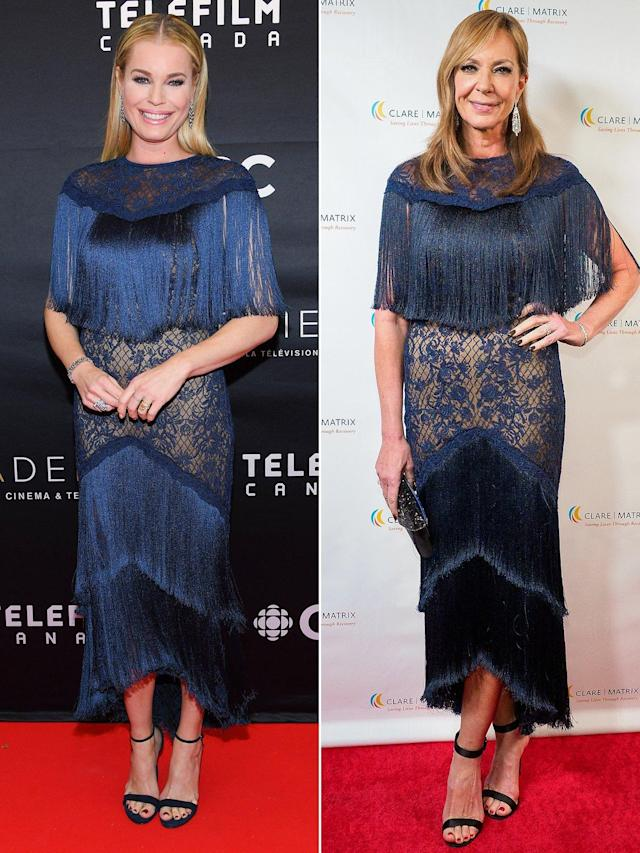 88cf5e1eedd These stars clearly love a little fashion fringe as they prove in this navy  Tadashi Shoji