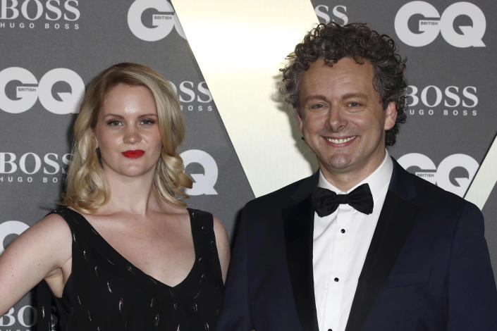 Actor Michael Sheen and partner Anna Lundberg pose for photographers on arrival at the GQ Men of the year Awards in central London on Tuesday, Sept. 3, 2019. (Photo by Grant Pollard/Invision/AP)