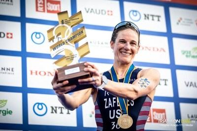 Katie Zaferes won her first ITU World Triathlon Championship on Saturday in Lausanne, Switzerland, overcoming a bike crash just two weeks ago to become the first U.S. world champion in triathlon since 2015.