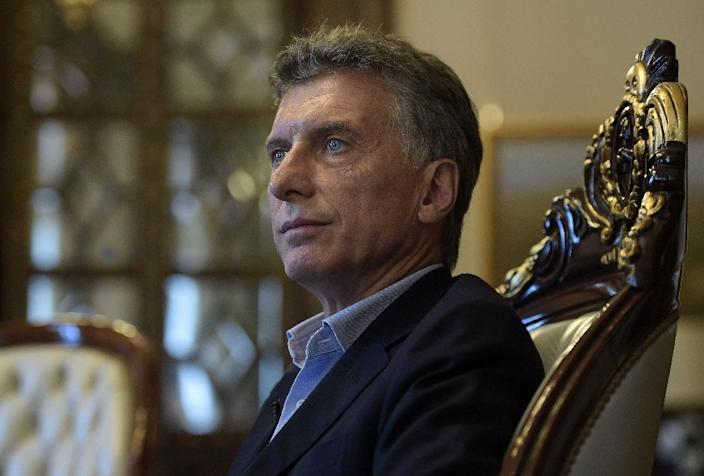 Argentina's President Mauricio Macri during an interview with AFP at the Casa Rosada presidential palace in Buenos Aires on February 22, 2016 (AFP Photo/Juan Mabromata)