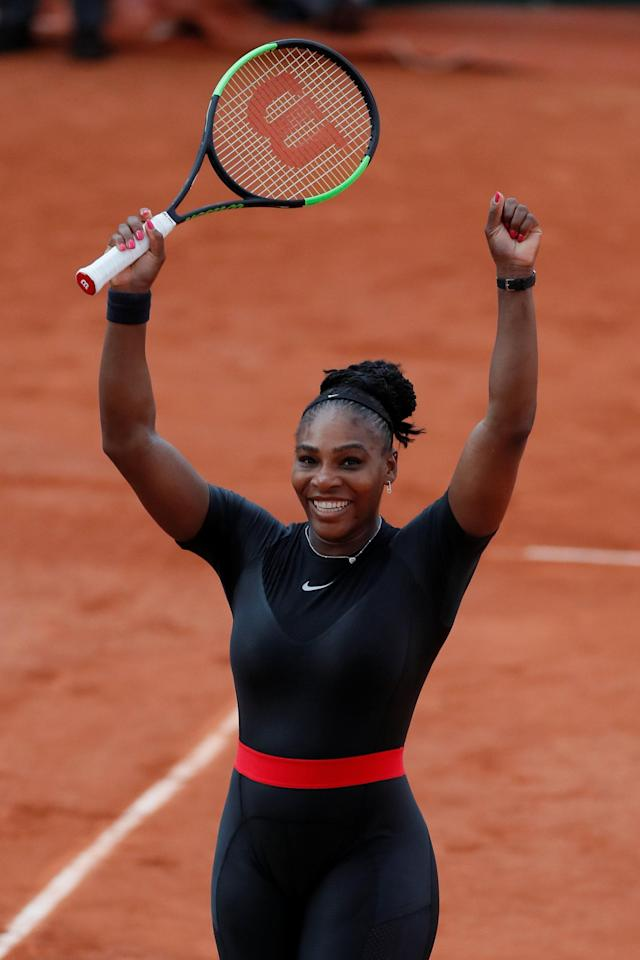 Tennis - French Open - Roland Garros, Paris, France - June 2, 2018 Serena Williams of the U.S. celebrates winning her third round match against Germany's Julia Goerges REUTERS/Gonzalo Fuentes