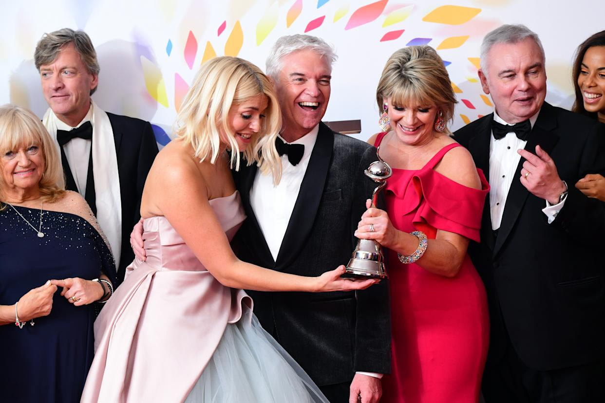 Holly Wiloughby and Phillip Schofield with the award for award for best live magazine in the Press Room during the National Television Awards at London's O2 Arena. (Photo by Ian West/PA Images via Getty Images)