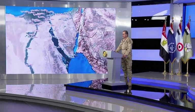 An image grab from February 9, 2018 shows Egypt military spokesman Colonel Tamer al-Rifai announcing the launch of a major operation against an Islamic State group affiliate in the Nile Delta and Sinai Peninsula