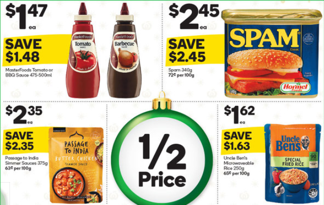 Sauce, spam, rice and curry simmer sauce on sale for half-price at Woolworths.