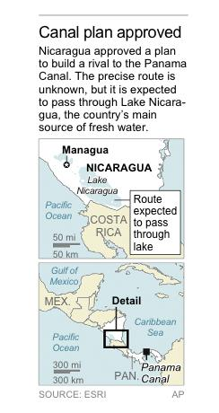 Map locates Lake Nicaragua, which could be affected by a plan to build a canal through Nicaragua