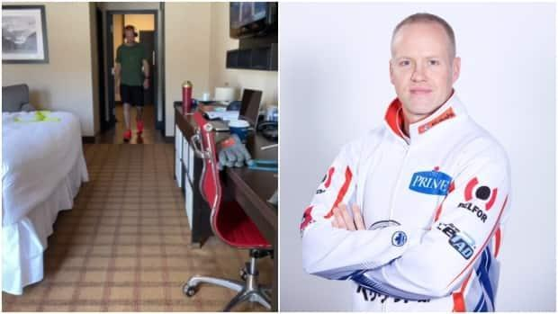 Mark Nichols posted a video on Instagram, screenshot left, showing him doing laps in his hotel room. He listens to fitness podcasts while walking, but used the song Walking on Sunshine by Katrina & The Waves as background music for his video. (Instagram/marknichols_nl/teamgushue.ca - image credit)