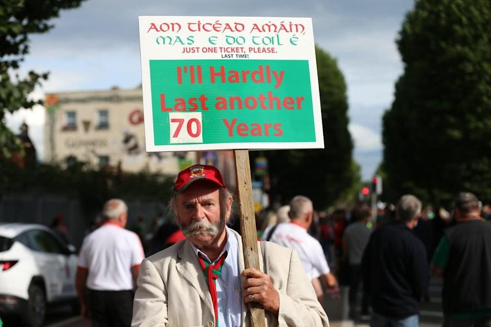 A fan with a sign at Croke Park, Dublin, ahead of Tyrone taking on play Mayo in the All Ireland football final (PA) (PA Wire)