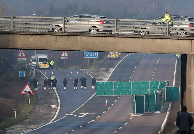 M20 motorway remains closed after body found on road