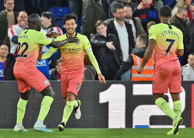 Manchester City's David Silva celebrates after scoring his side second goal during the English Premier League soccer match between Crystal Palace and Manchester City at Selhurst Park in London, England, Saturday, Oct. 19, 2019. (AP Photo/Rui Vieira)