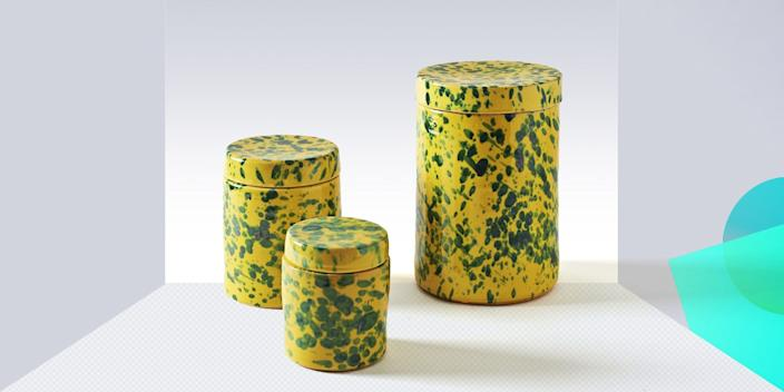 """<div class=""""caption""""> Whether you're using them to store freshly baked cookies (ambitious) or as a replacement for that everything drawer we know you have, these splatter-painted canisters bring a whimsical vibe to the kitchen. <a href=""""https://marchsf.com/green-on-yellow-splatterware-canisters.html"""" rel=""""nofollow noopener"""" target=""""_blank"""" data-ylk=""""slk:SHOP NOW"""" class=""""link rapid-noclick-resp"""">SHOP NOW</a>: Green on yellow splatterpaint canisters by March SF, from $55, marchsf.com </div> <cite class=""""credit"""">Photo courtesy of March SF</cite>"""