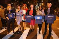 <p>People dressed as White House staffers at the 44th annual Village Halloween Parade in New York City on Oct. 31, 2017. (Photo: Gordon Donovan/Yahoo News) </p>