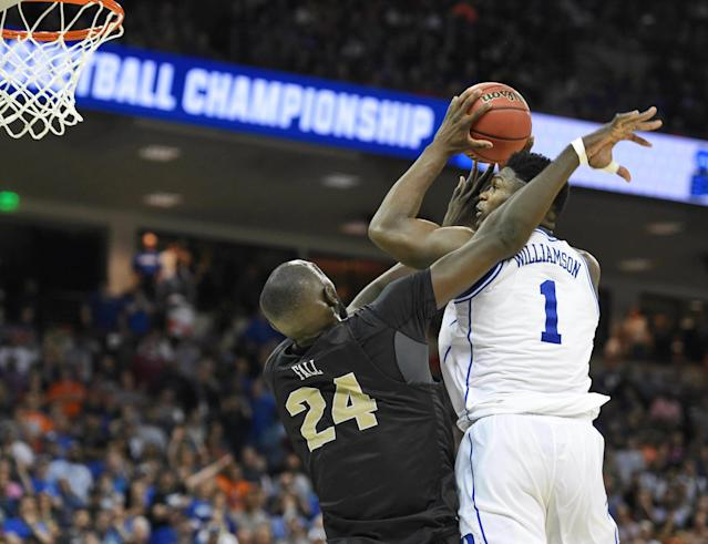 Zion Williamson was awesome, but Duke, as a team, struggled in the second half against UCF. (AP)