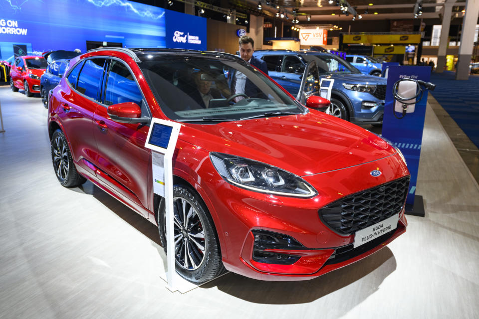 Ford Kuga Plug-in hybrid compact crossover SUV on display at Brussels Expo in Brussels, Belgium. Photo: Sjoerd van der Wal/Getty Images