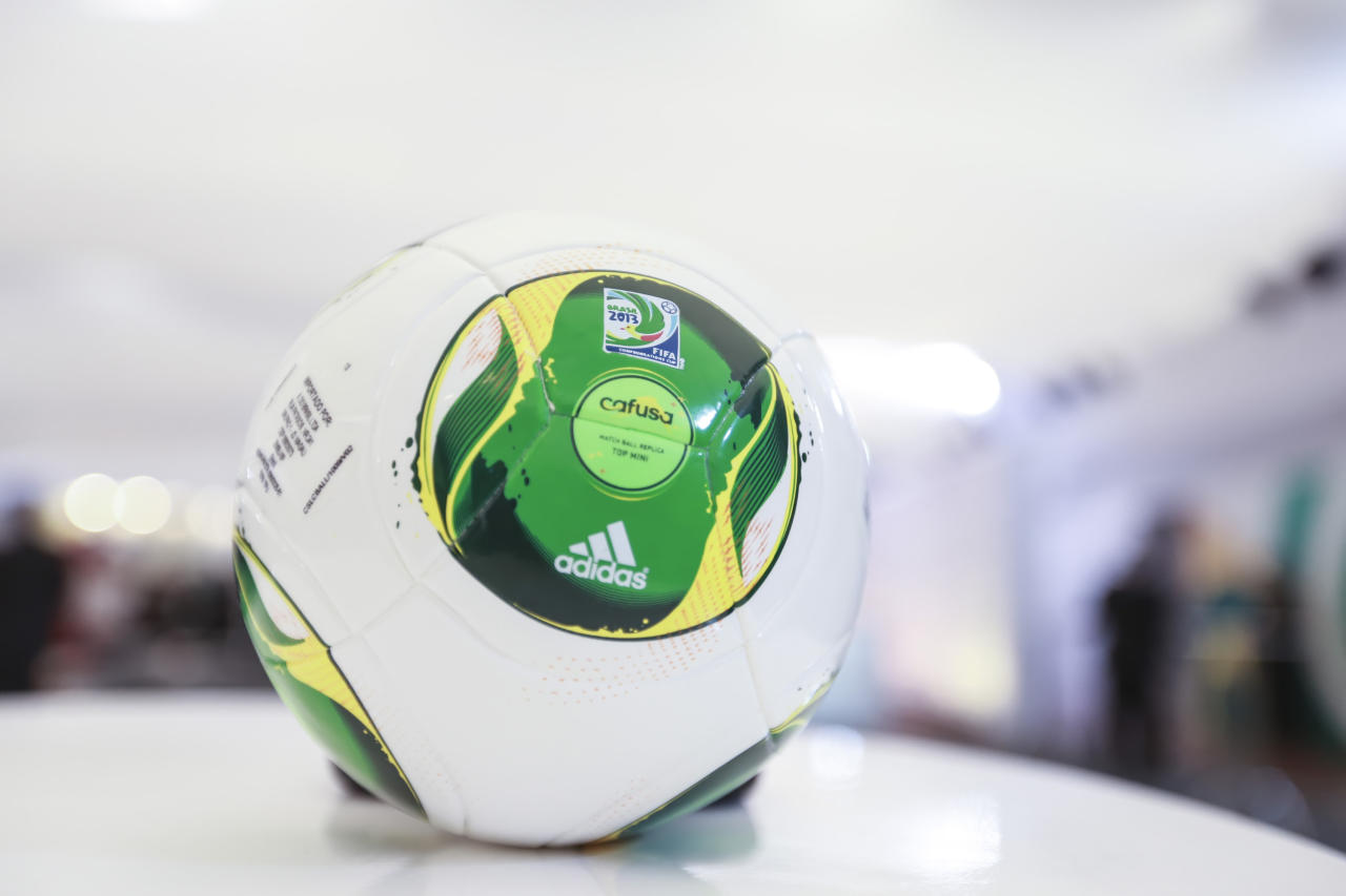 SAO PAULO, BRAZIL - DECEMBER 01: Cafusa, the official FIFA Confederations Cup ball, during the Draw for the FIFA Confederations Cup 2013 at Anhembi Convention Center on December 01, 2012 in Sao Paulo, Brazil. (Photo by Alexandre Schneider/LatinContent/Getty Images)