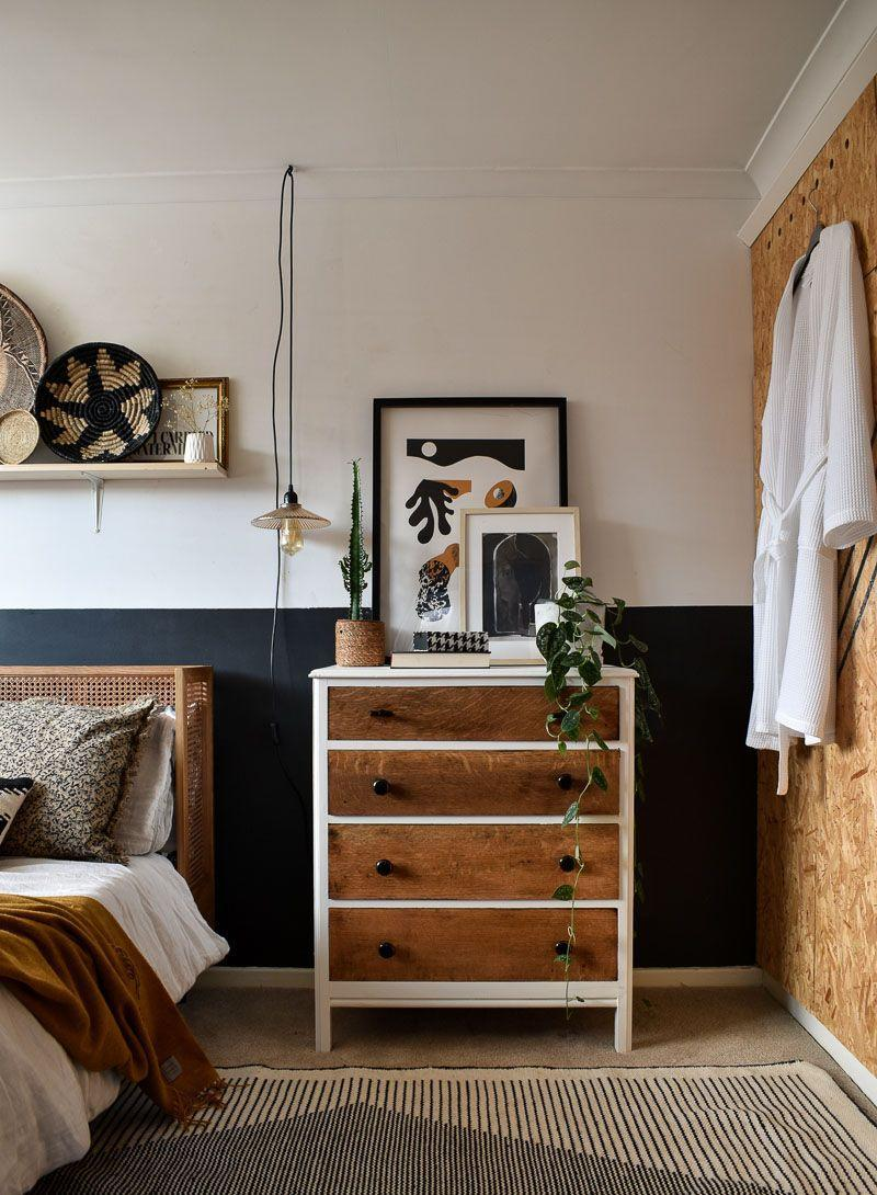 """<p>""""The drawer is one of my favourite upcycled projects from last year. I bought a dresser very cheaply from eBay, painted and stained it for a more modern touch. The wardrobe cupboard doors are made from OSB wood. There is definitely a lot of mixing and matching of wood textures in this space which adds to the warm earthy feel.""""</p>"""
