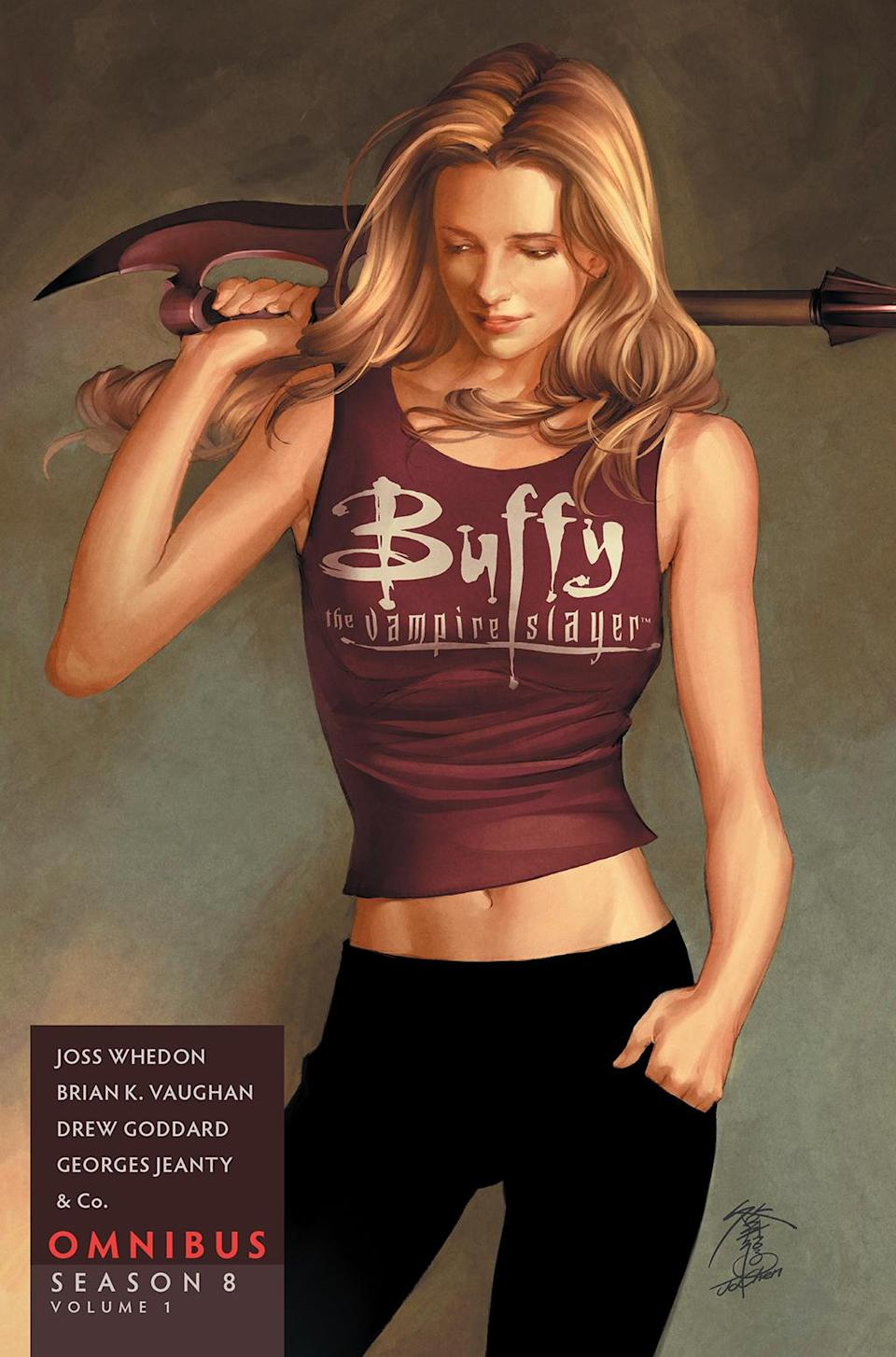 """<p>On Sept. 26, Dark Horse publishes the first of two volumes of """"Season 8,"""" the comic that became the official sequel to the show when it was released in 2007. This collection includes the first four arcs of the series along with one-shots and short stories written by Whedon, Brian K. Vaughan, Drew Goddard, and Jeph Loeb, with art by Georges Jeanty, as well as Karl Moline, Paul Lee, Cliff Richards, and more. Price: $24.99. Another collection to look forward to in September: Simon & Schuster's <em>Buffy the Vampire Slayer: The Watcher's Guide 20th Anniversary Edition</em>, which will combine the<span><span> content from Volumes 1–3 of the original <em>Watcher's Guides</em>, with exclusive new content including never-before-seen interviews with the cast and crew. </span></span>(Credit: Dark Horse) </p>"""