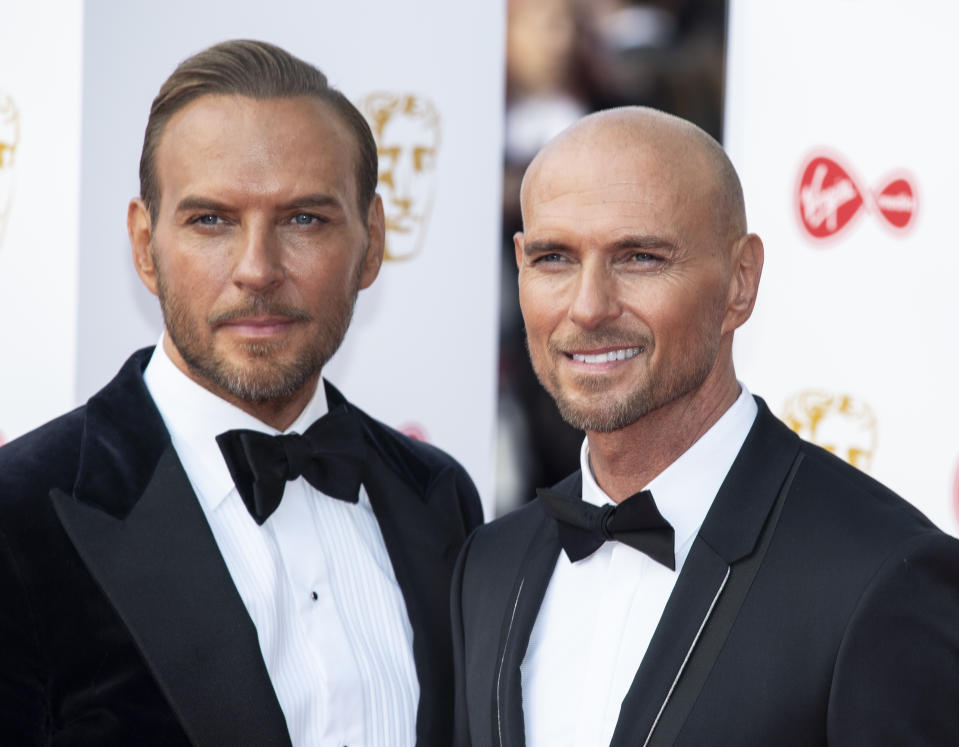LONDON, UNITED KINGDOM - 2019/05/12: Matt Goss and Luke Goss are seen on the red carpet during the Virgin Media British Academy Television Awards at The Royal Festival Hall in London. (Photo by Gary Mitchell/SOPA Images/LightRocket via Getty Images)