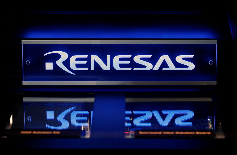 Renesas Electronics Corp's logo is seen on its product at the company's conference in Tokyo