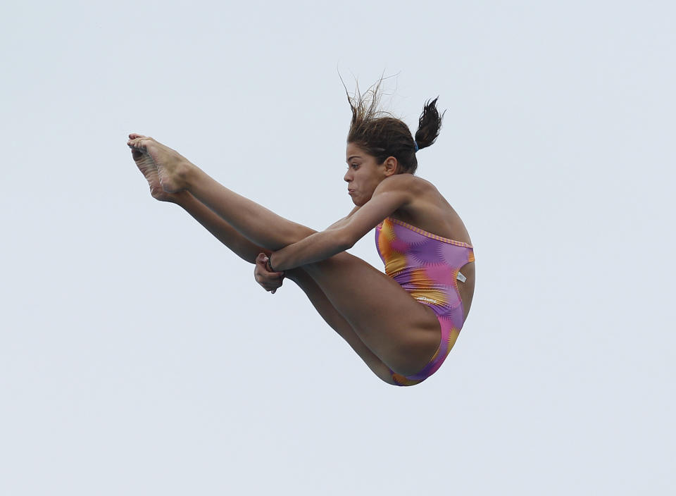 Mexico's 15-year-old Alejandra Orozco Loza dives during the Women's Platform Preliminary round of the AT&T USA Grand Prix Diving at the Fort Lauderdale Aquatics Complex on May 5, 2011 in Fort Lauderdale, Florida. (Joel Auerbach/Getty Images)