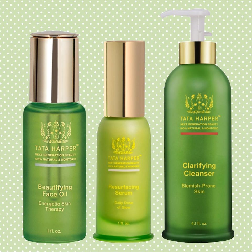 """<p>Tata Harper packages its products in glass, which is easily recyclable. Along with pretty looking bottles, their skincare line also packs a punch, too, including their much beloved Clarifying Cleanser.</p> <p><em><strong>Shop Now</strong>: Tata Harper, Beautifying Face Oil, $78, <a href=""""https://click.linksynergy.com/deeplink?id=lYYSEIC9SjY&mid=1237&u1=sustainablebeautybrands2019&murl=https%3A%2F%2Fshop.nordstrom.com%2Fs%2Ftata-harper-skincare-beautifying-face-oil%2F4615358"""">available at Nordstrom</a></em>.; <em>Tata Harper, Resurfacing Serum, $88, <a href=""""https://click.linksynergy.com/deeplink?id=lYYSEIC9SjY&mid=1237&u1=sustainablebeautybrands2019&murl=https%3A%2F%2Fshop.nordstrom.com%2Fs%2Ftata-harper-resurfacing-serum%2F4925310"""">available at Nordstrom</a></em>.; <em>Tata Harper, Clarifying Cleanser, $68, <a href=""""https://click.linksynergy.com/deeplink?id=lYYSEIC9SjY&mid=1237&u1=sustainablebeautybrands2019&murl=https%3A%2F%2Fshop.nordstrom.com%2Fs%2Ftata-harper-skincare-clarifying-cleanser%2F4912941"""">available at Nordstrom</a></em>.</p>"""