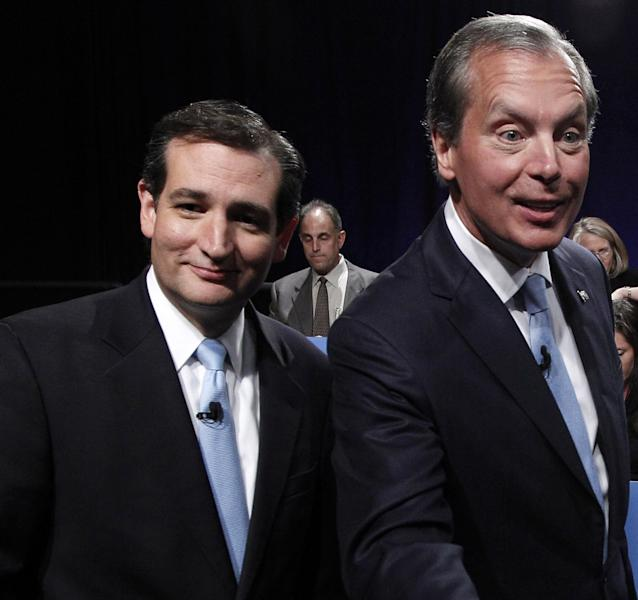 FILE - In this June 22, 2012 file photo, Texas Senate Candidates Ted Cruz, left, and Texas Lt. Gov. David Dewhurst , right, are seen after their televised debate in Dallas, Texas. Democrats have their thumbs heavily on Republican scales in Senate primaries in Missouri and Wisconsin this summer, hoping to tip the balance and improve their own chances of maintaining a majority in November. The idea isn't as far-fetched as it might sound. ( AP Photo/Pool/LM Otero, File)