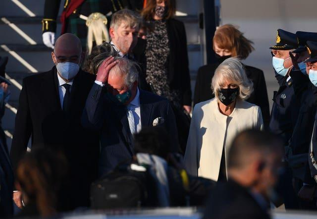The Prince of Wales and the Duchess of Cornwall arriving in Greece (Victoria Jones/PA)