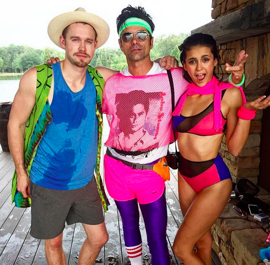 "<p>""We refuse to let #summer or #the80s be over,"" the <em>Fuller Hous</em>e star captioned this silly pic with friends Chord Overstreet and Nina Dobrev. We're not sure what we love most about Stamos's outfit — the purple hot pants, the neon headband, or that he's wearing a shirt with a photo of himself on it! (Photo: <a href=""https://www.instagram.com/p/BYo3sczH-ZI/?taken-by=johnstamos"" rel=""nofollow noopener"" target=""_blank"" data-ylk=""slk:John Stamos via Instagram"" class=""link rapid-noclick-resp"">John Stamos via Instagram</a>) </p>"