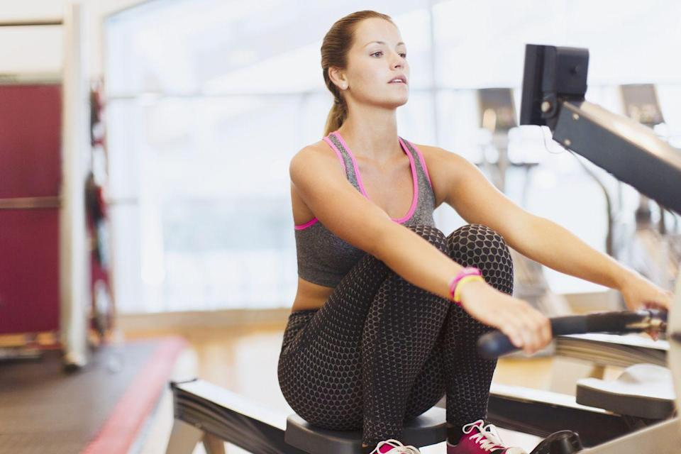 """<p>Just because you may not have access to open water, it doesn't mean you can't weave this fat-blasting cardio workout into your gym routine. Not only does using a <a href=""""https://www.prevention.com/fitness/workout-clothes-gear/g27547247/best-rowing-machines/"""" rel=""""nofollow noopener"""" target=""""_blank"""" data-ylk=""""slk:rowing machine"""" class=""""link rapid-noclick-resp"""">rowing machine</a> get your heart rate way up, which helps you blast calories and burn fat, but it also works muscles in your legs, core, arms, shoulders, and <a href=""""https://www.prevention.com/fitness/workouts/g28622686/best-back-exercises/"""" rel=""""nofollow noopener"""" target=""""_blank"""" data-ylk=""""slk:back"""" class=""""link rapid-noclick-resp"""">back</a>, says Penfold. </p><p><strong>Try this 4-minute rowing circuit:</strong> Begin with 20 seconds of rowing followed by 10 seconds of rest. Look at how many meters you traveled in that time. (Don't get off the rowing machine or even let go of the handle when you rest, says Penfold.) Repeat this eight times, trying to beat your distance each time. When you're finished with this four-minute circuit, row a fast 500 meters and note how long it takes you. """"That's the number you'll want to match or beat during your next rowing session,"""" says Penfold.</p>"""