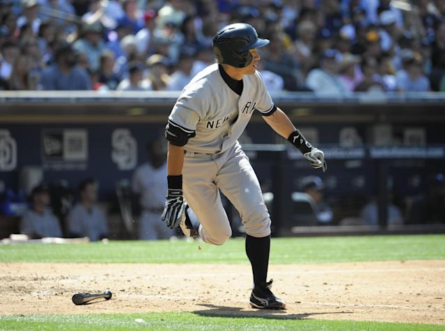 SAN DIEGO, CA - AUGUST 4: Ichiro Suzuki #31 of the New York Yankees flies out during the sixth inning of a baseball game against the San Diego Padres at Petco Park on August 4, 2013 in San Diego, California. (Photo by Denis Poroy/Getty Images)