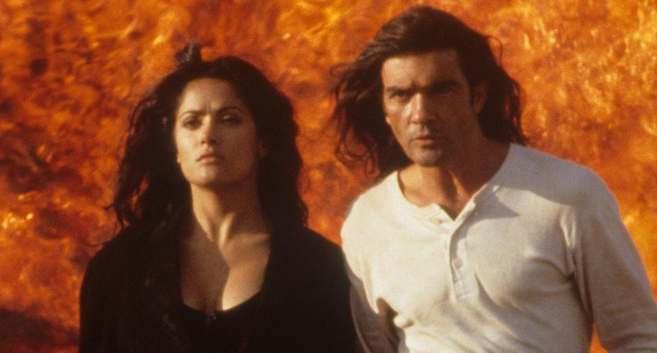 Salma Hayek and Antonio Banderas in a still from Desperado. (Getty Images)